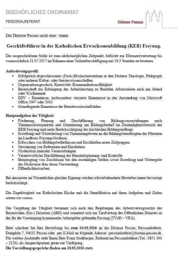 Geschäftsführer/in der KEB Freyung gesucht!