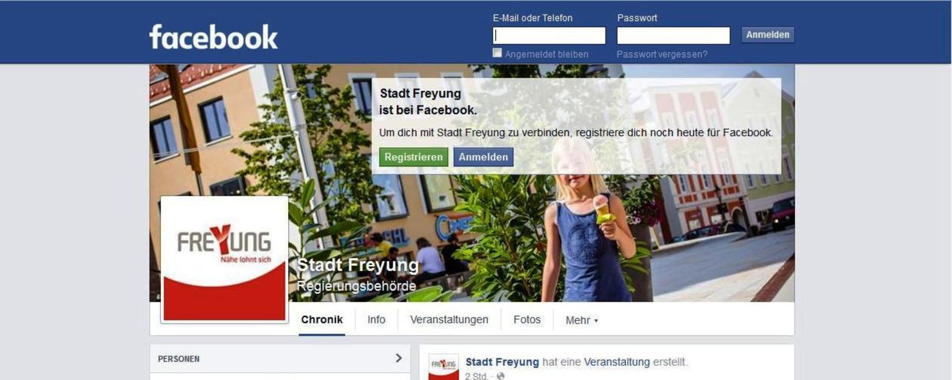 Stadt Freyung Facebook Google+ youtube flickr